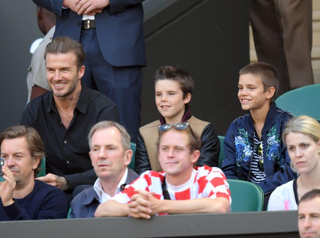 David Beckham With Sons at Wimbledon 2016