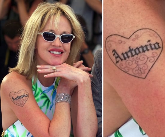In 2000, Melanie Griffith made a statement about her love for then-husband Antonio Banderas. After their split in 2014, Melanie seemed to have erased or covered his name.