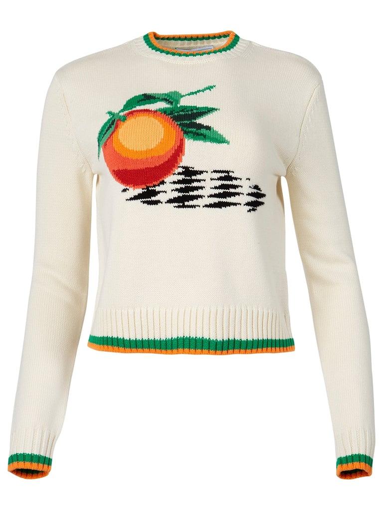 A Cozy Sweater: Casablanca Orange Intarsia Sweater