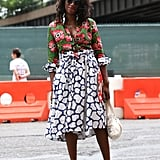 We've never met a mixed-print look that we didn't love, and this chic dress fit the bill.