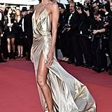 Izabel Goulart's Gold Alexandre Vauthier Gown Fluttered in the Wind