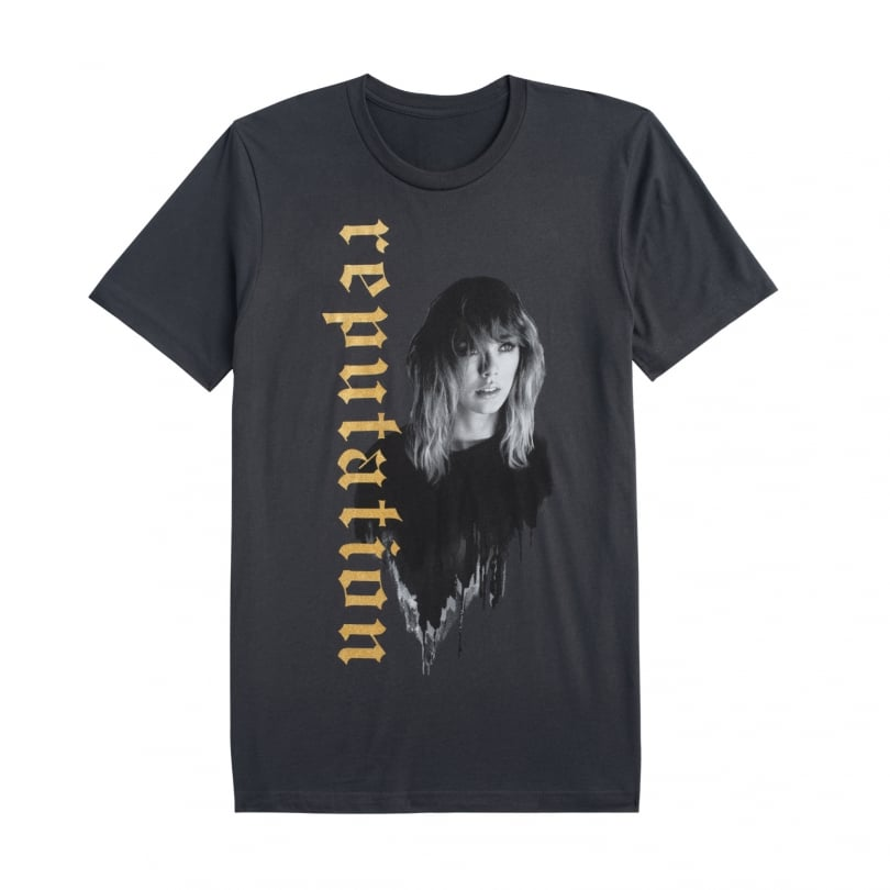 Dark Grey Tour Tee With Reputation in Gold