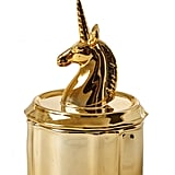 Unicorn Head Gold Porcelain Jewelry Box