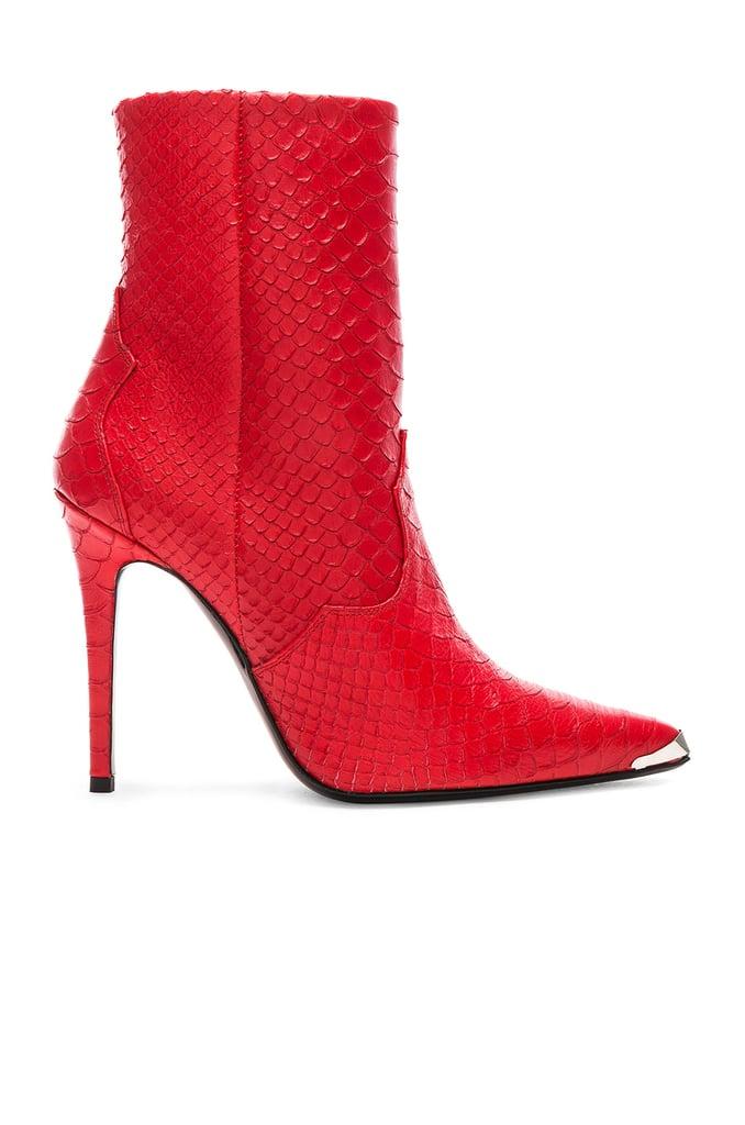 Amiri Western Embossed Snakeskin Boots in Red