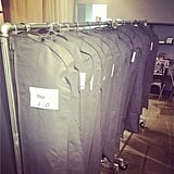 Before they were unzipped to reveal lovely designs, rows of garment bags concealed Sachin + Babi's designs. Source: Instagram user sachinandbabi