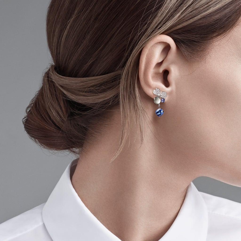 Tiffany Paper Flowers Diamond and Tanzanite Flower Drop Earrings in Platinum