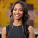 Zoe Saldana made an appearance on Extra with a sweet side braid that she tied with a black ribbon.