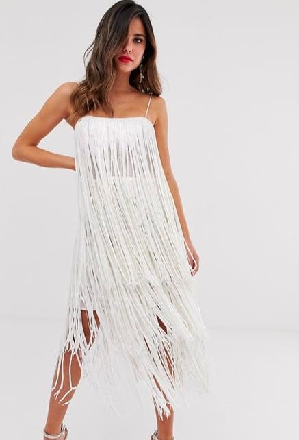 ASOS Design Tiered Midi Dress in Fringe Sequin