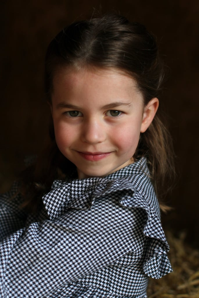 "Princess Charlotte turns 5 today! And to celebrate her special day, the Duke and Duchess shared a gorgeous new portrait on the Kensington Palace Instagram account. ""Thank you for all your lovely messages on Princess Charlotte's fifth birthday!"" the caption reads. ""The Duke and Duchess of Cambridge are very pleased to share a new photograph of Princess Charlotte, taken by The Duchess this April."" In the photo, Princess Charlotte wears an adorable black-and-white, houndstooth-print dress with a sweet ruffled collar. This followed a series of photos of Princess that William and Kate shared the night before their daughter's birthday. On Friday evening, they posted four portraits — also taken by Kate. ""The Duke and Duchess of Cambridge are very pleased to share four new photographs of Princess Charlotte ahead of her fifth birthday tomorrow,"" Kensington Palace wrote on Instagram. ""The images were taken by The Duchess as the family helped to pack up and deliver food packages for isolated pensioners in the local area."" It's hard to believe that it's already been five years since we got our first little glimpse of the adorable Princess Charlotte — the Duke and Duchess of Cambridge's daughter and middle child — outside the Lindo Wing of St. Mary's hospital in London.  Just last week, the royal family celebrated another special day: the second birthday of Charlotte's younger brother, Prince Louis. And although they aren't able to plan a big celebration for their birthdays this year due to COVID-19 lockdown in the UK, they still found a way to mark the days at their home, Anmer Hall in Norfolk. It's become a sort of birthday tradition for the Cambridge family to release new portraits taken by Kate. The photos released of Princess Charlotte are, of course, gorgeous. See all five of Charlotte's sweet portraits ahead!"