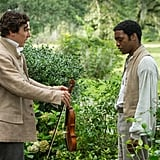 12 Years a Slave Brad Pitt and Michael Fassbender star in this period film about a free African-American man (Chiwetel Ejiofor) who gets tricked and sold and then spends 12 years in slavery, as the title suggests. I was already excited about the substance of this movie, which also stars Benedict Cumberbatch, Paul Giamatti, and Paul Dano, and now that it recently wowed audiences at the Telluride Film Festival, I really can't wait to see it.