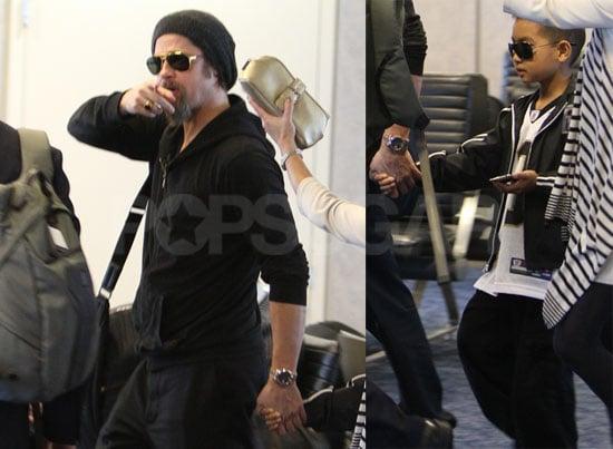 Photos of Brad Pitt and Maddox Jolie-Pitt at LAX Headed to Super Bowl