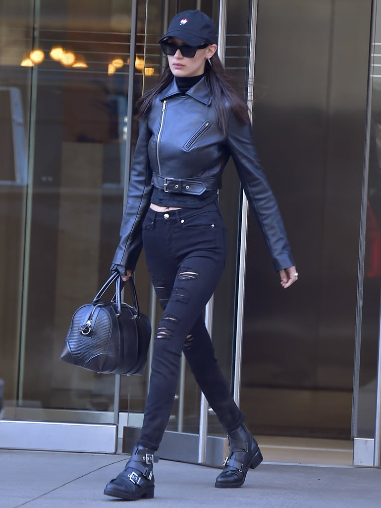The leather accents in Bella Hadid's outfit, from her jacket to boots, gave her a tough-girl vibe.