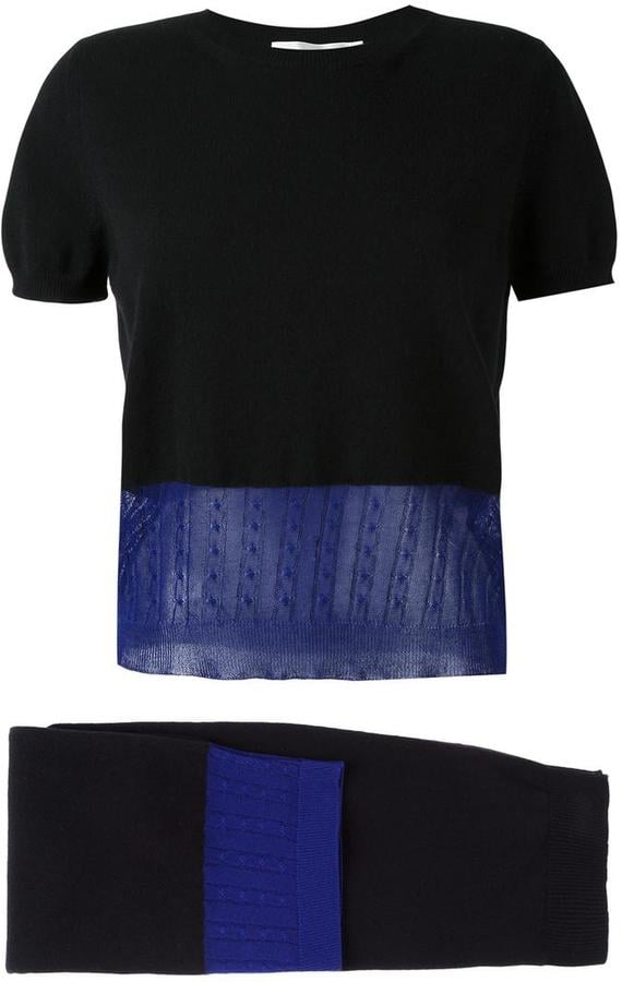Victoria Beckham layered knit top and skirt two piece set