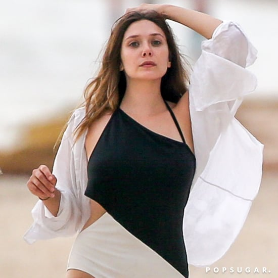 Elizabeth Olsen's Black and White One-Piece Swimsuit 2018