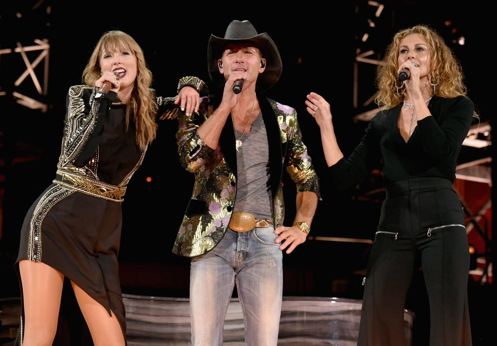 "During Taylor's stadium tour, the singer made fans extra nostalgic when she sang a surprise song during each concert. In addition to singing throwbacks like ""All Too Well"" and ""Fearless"" on the B stage, she also gave a special rendition of ""Tim McGraw"" during her Nashville concert in August when she was joined by Tim McGraw and Faith Hill on stage."