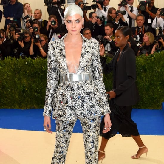 Bald Cara Delevingne in Chanel at Met Gala 2017