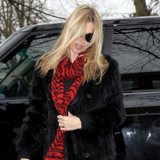Kate Moss With Red Scarf Pictures in London