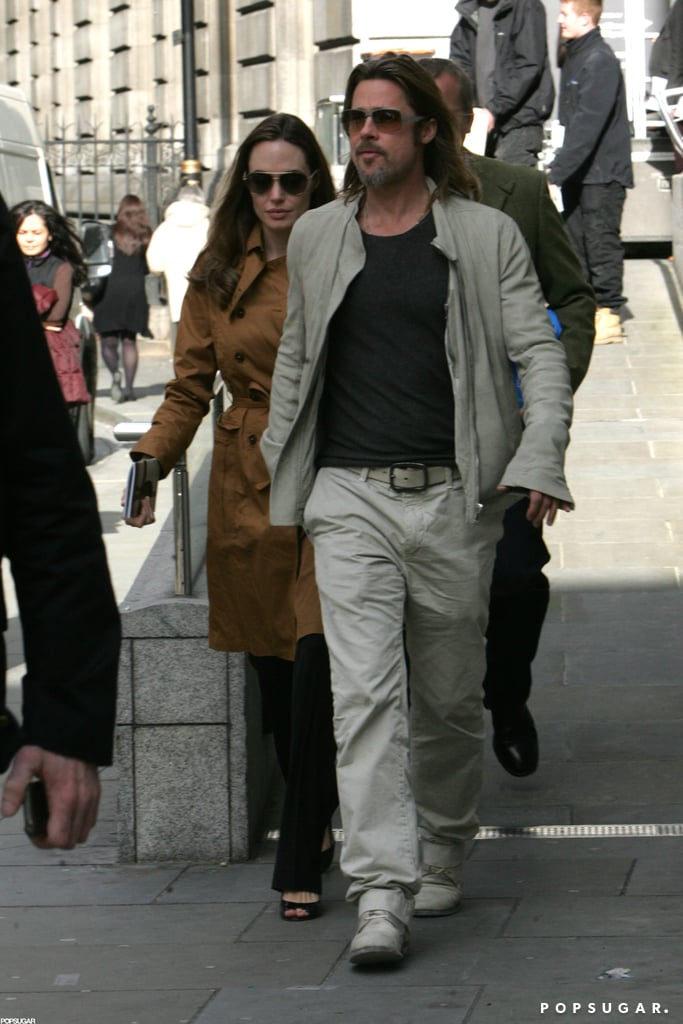 Angelina Jolie and Brad Pitt visited London's National Portrait Gallery this afternoon. The couple checked out the Lucian Freud exhibit before heading out and into a waiting car. Brad and Angelina left the kids at home for this outing, but they did recently see a matinee showing of Billy Elliot the Musical with their family.  The whole crew will soon head south to France, where Brad and Angelina are expected at the Cannes Film Festival. Brad has Killing Them Softly premiering at the event and we're looking forward to a glamorous appearance from him and Angelina on the red carpet. They've attended in years past and its no surprise that their star status has landed them among the top spots in our PopSugar 100 faceoff game — there's still time to play for the chance to win $2,500 in cash!