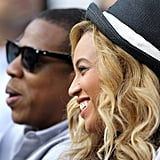 Jay-Z and Beyoncé Knowles together.