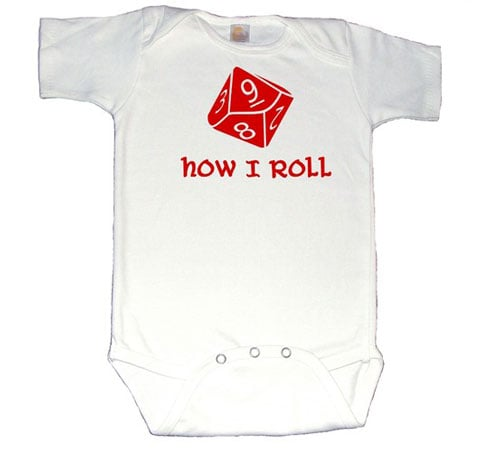 Perhaps the parents met at a weekly Dungeons and Dragons night. Baby is sure to inherit the gaming genes in a D10 dice outfit.