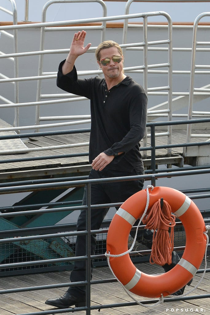 "Brad Pitt continued the promotional tour for his new movie World War Z today in Paris. He boarded a ferry and took part in interviews before disembarking with a smile and waving to onlookers. Brad's press day comes on the heels of last night's London premiere, where he had the support of his fiancée, Angelina Jolie. Angelina's red carpet outing marked her first public appearance since announcing last month that she had preventive double mastectomy surgery in February.  Also along for the meaningful night were Brad and Angelina's eldest sons, Maddox and Pax, who stopped for family pictures before heading into the screening. During an interview at a premiere afterparty last night, Brad revealed a parenting secret he and Angelina share, telling Extra, ""We have a policy in our family, no secrets."" He went on to explain that all six children were aware of Angelina's surgery."