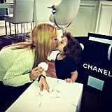 Rachel Zoe got a sweet kiss from Skyler Berman over a big box from Chanel. Source: Instagram user rachelzoe