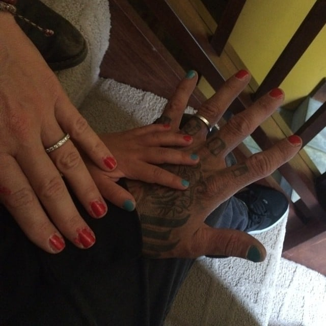 Willow Hart painted both Pink and Carey Hart's nails for good luck. Source: Instagram user hartluck