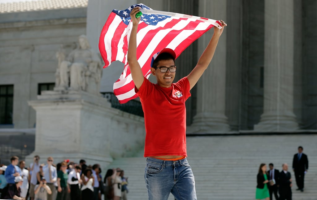 An advocate waved an American flag in Washington DC.