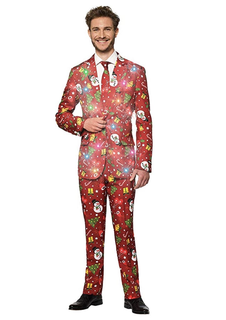 Suitmeister Light-Up Christmas Suit With Christmas Red Icons Pattern