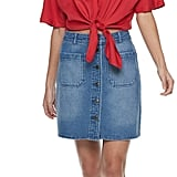 POPSUGAR Button-Front Denim Mini Skirt
