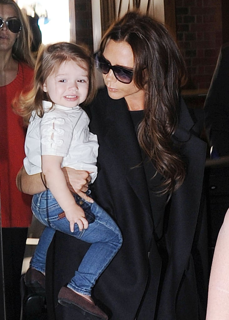 Harper Beckham smiled for the cameras.