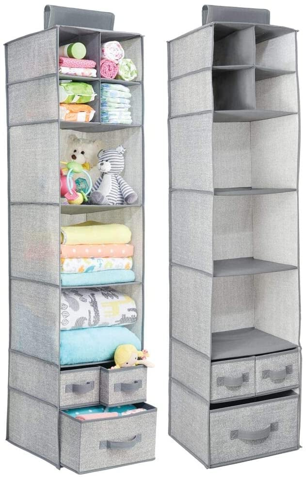 mDesign Soft Fabric Over Closet Rod Hanging Storage Organizer