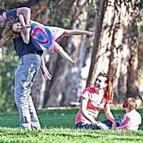 Alyson Hannigan and her husband, Alexis Denisof, visited an LA park with their girls, Keeva and Satyana, on Saturday.