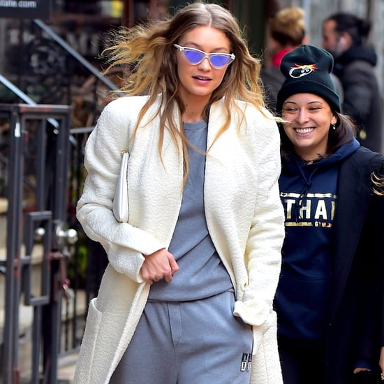 Gigi Hadid Monogrammed Sweatpants October 2016