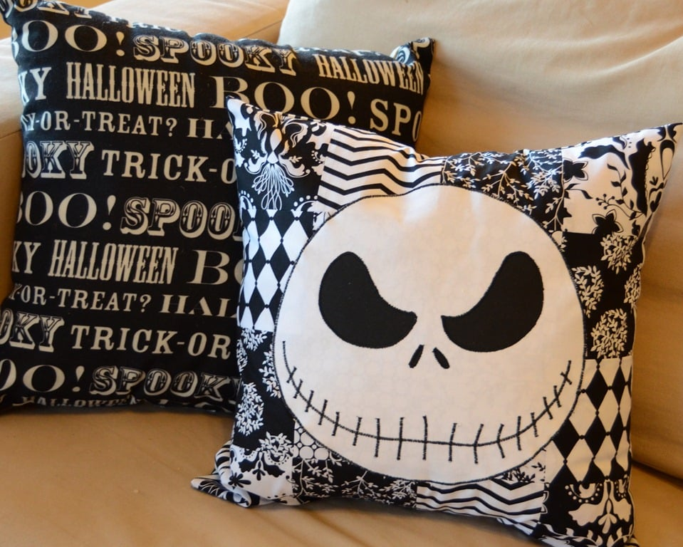 Sit back and relax on these DIY The Nightmare Before Christmas pillows after a long night of trick-or-treating.