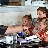Jennifer Garner has brunch at Shutters with Seraphina and Violet, as well as Ben Affleck.