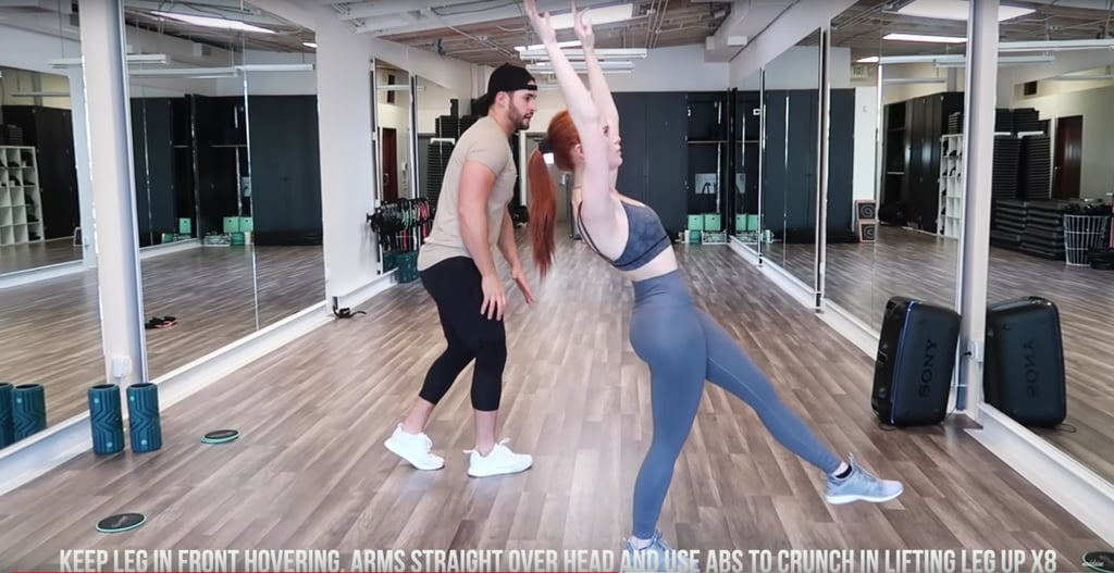 With one leg hovering in front, stretch your arms over your head and engage your core to lift up your leg eight times. Do the last three moves all over again to work the opposite leg.