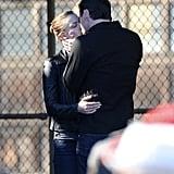 Emily Vancamp kissed Barry Sloane on the set of Revenge in LA on Thursday.