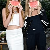 Clara Paget and Cara Delevingne got silly at the Club Monaco Garden Party to celebrate the brand's first London store.