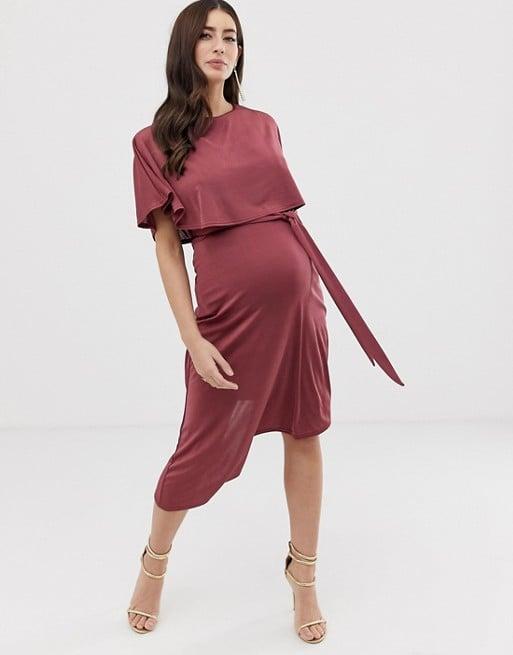 ASOS Design Maternity Nursing Cape Crop Top Midi Dress