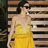 Kendall Jenner Wearing Yellow Paperbag-Waist Trousers