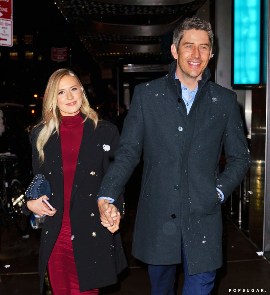 "Now that The Bachelor's Arie Luyendyk Jr. and Lauren Burnham have finally gone public with their romance, the newly engaged couple stepped out for their first date night in NYC on Wednesday night. Lauren and Arie braved the Winter storm as they made their way over to Megu restaurant hand in hand.  Despite their cringeworthy interview with Jimmy Kimmel earlier this week, it appears Lauren and Arie took Jimmy's advice and finally went to a restaurant together. After revealing that they had yet to do so, Jimmy poked fun at their sudden engagement, saying, ""Oh, you should definitely get married right away!"" Well, at least now they can cross that off their list of things to do before they tie the knot.       Related:                                                                                                                                Welp, Here's Another Awkward Interview With The Bachelor's Arie and Lauren"