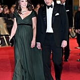 For the BAFTAs, Kate showed off her glamorous side in a beautiful dark green Jenny Packham gown and emerald jewels.