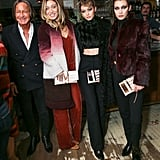 Gigi joined her sister Bella at Alana Hadid's Lou & Grey collection launch. They posed alongside their father, Mohamed Hadid, Gigi showing off crisp high-waisted trousers, a textured mock-neck top, and a complementing coat. All three Hadid sisters held on to patterned clutches from the accessories collaboration.