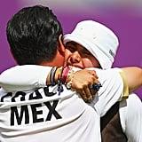 Mexico's Mariana Avitia Martinez celebrated after winning her archery quarterfinal match.