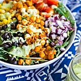 Seasoned Chickpea Taco Salad with Avocado Ranch Dressing