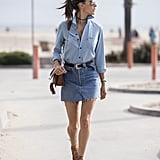Double denim with lace-up sandals