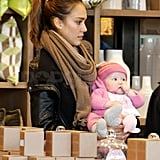 Jessica took Haven out of her stroller once inside the store.