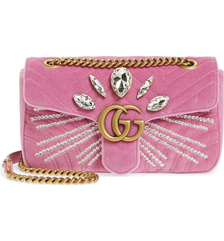 GG Marmont 2.0 Crystal Embellished Velvet Crossbody Bag