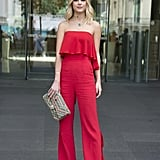 Red ruffles will turn heads in a bandeau jumpsuit.
